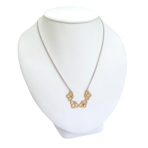 Medium Deco White Sapphire Necklace - Gold Vermeil and Silver