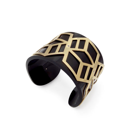 Wide Perspex Cuff - Black and Gold