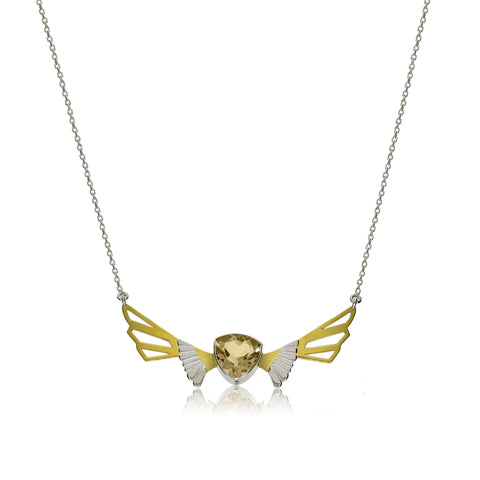 Wing Necklace - available in green and champagne quartz