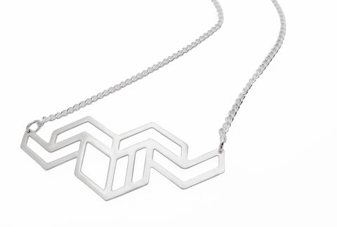 Hex Zigzag Necklace in Silver