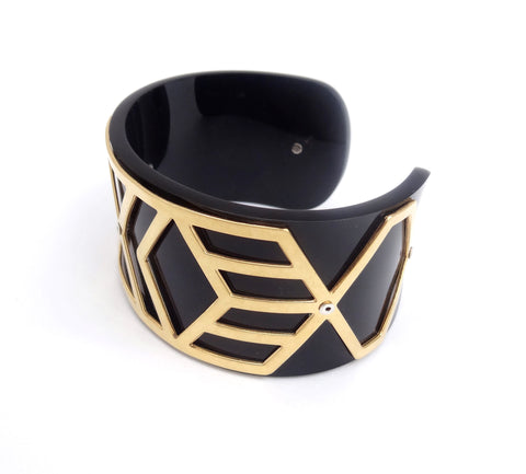 Slim Perspex Cuff - Black and Gold