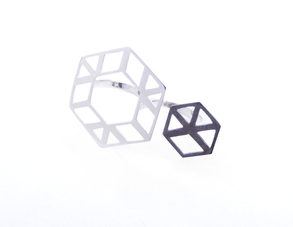 Hexagon Two-Tone Double Ring