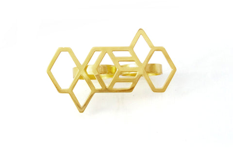 Hex Geometric Double Ring - Gold