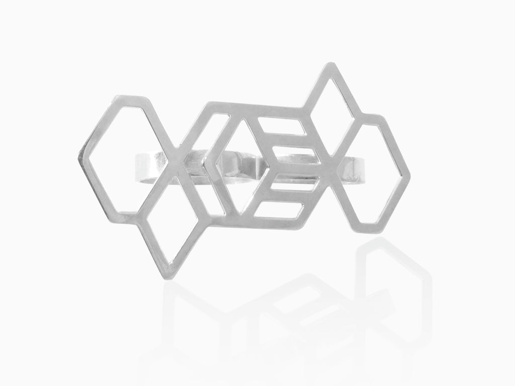 Hex Geometric Double Ring - Silver