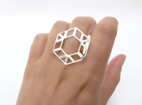 Hexagon Silver Ring