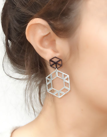 Hexagon Two-Tone Earrings