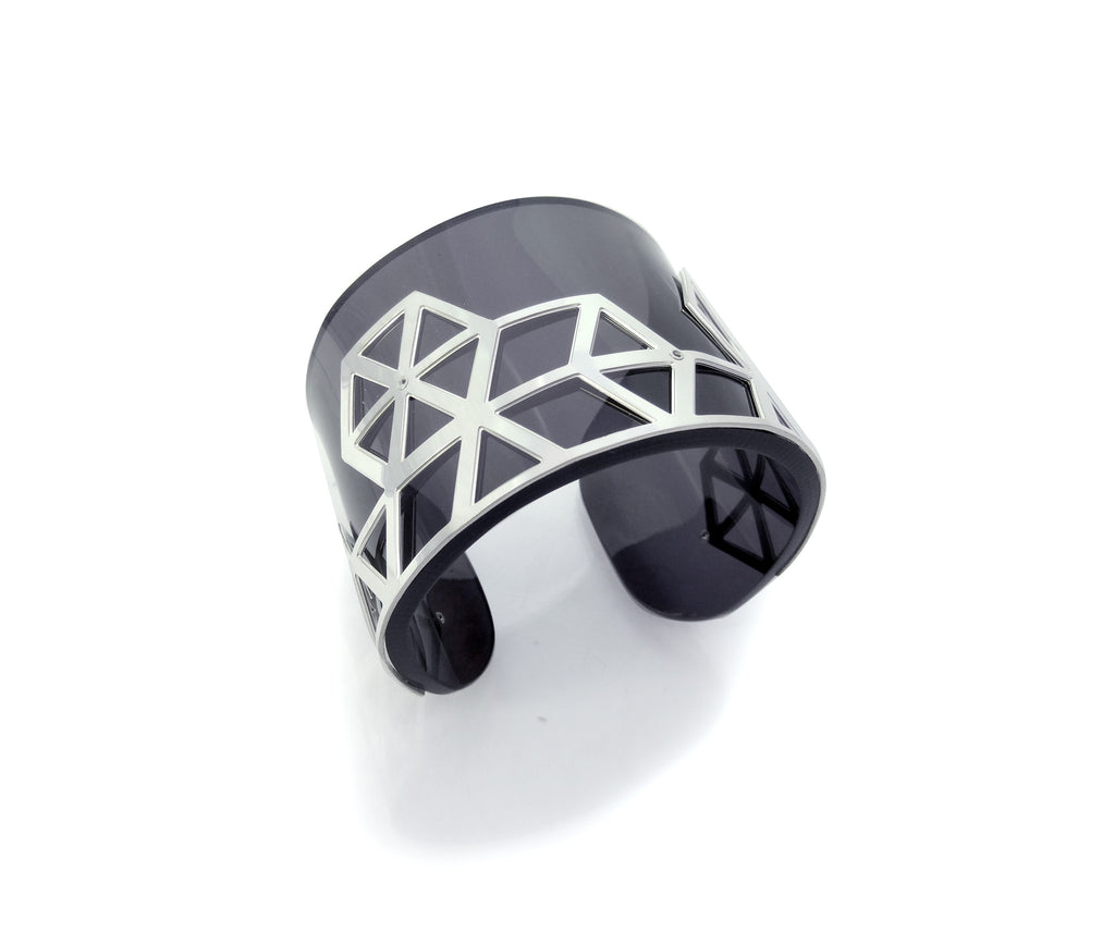 Hex II Perspex Cuff - Dark Tinted Grey and Silver