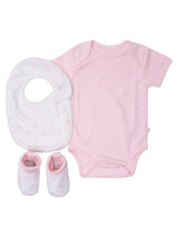 Nino Bambino 100% Organic Cotton White & Pink Print Essentials Gift Sets (Pack Of 3) For Newborn Baby Girls
