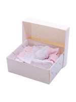 Nino Bambino 100% Organic Cotton White & Pink Print Essentials Gift Sets (Pack Of 8) For Newborn Baby Girls