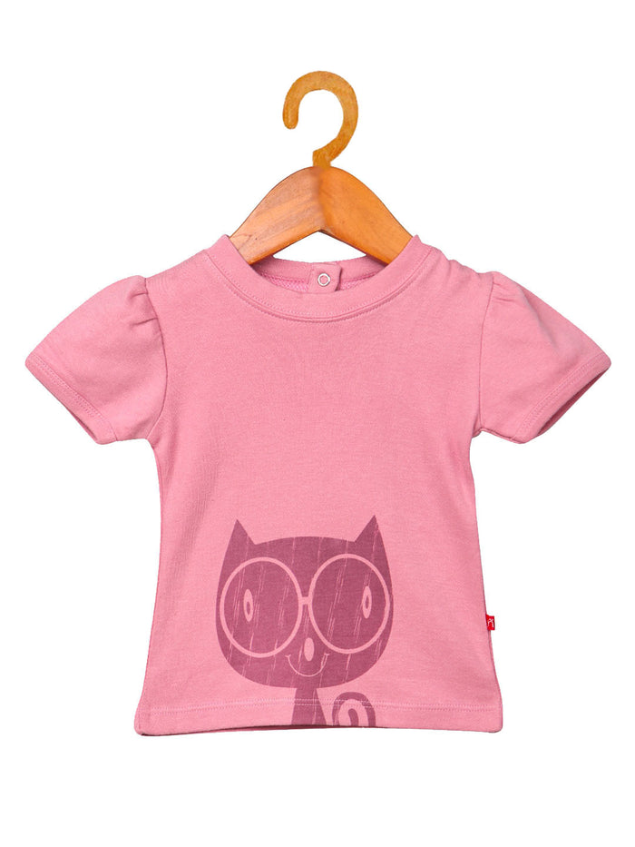 Nino Bambino 100% Cotton Round Neck Pink Color T-Shirt For Baby Girl's