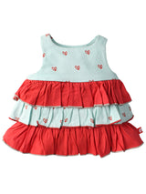 Nino Bambino 100% Organic Cotton Multi-Color Sleeveless Dress For Baby Girls