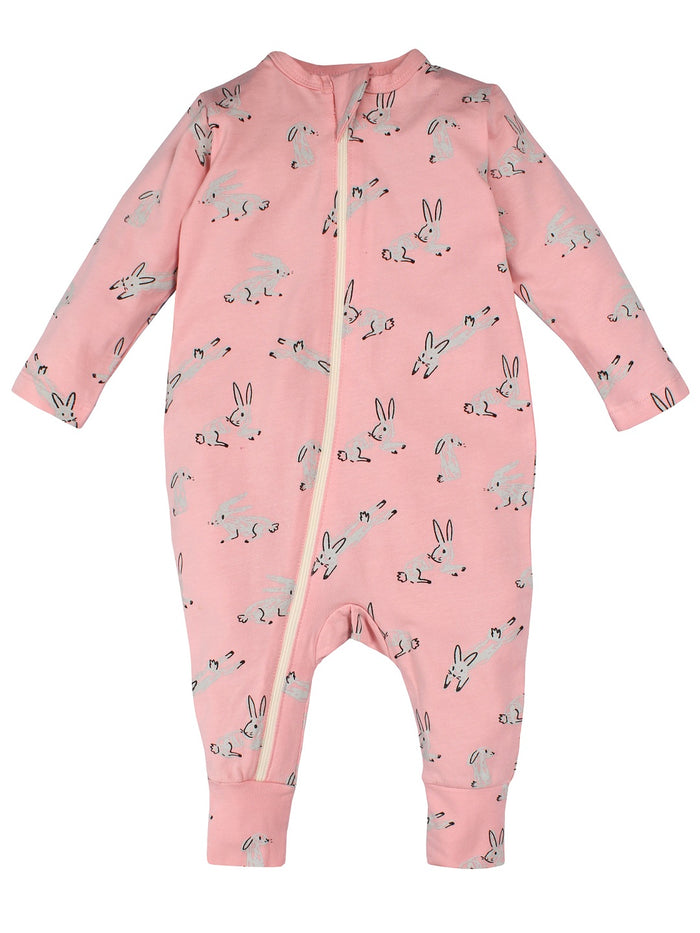 Nino Bambino 100% Organic Cotton Full Sleeve Pink Color Romper For Baby Girls