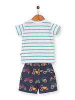 Nino Bambino 100% Organic Cotton Multi-Color T-Shirt & Shorts Set For Baby & Kid Boys