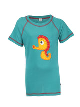 Nino Bambino 100% Organic Cotton Round Neck Aqua Color Half Sleeves T-Shirt For Boy