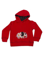 Nino Bambino 100% Organic Cotton Red Color Hoodie Sweatshirt For Unisex
