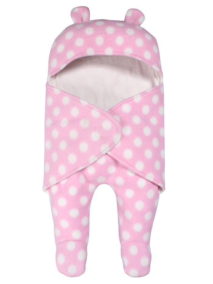 Fleece Hood Wrap Sleepsuit For Baby Girls