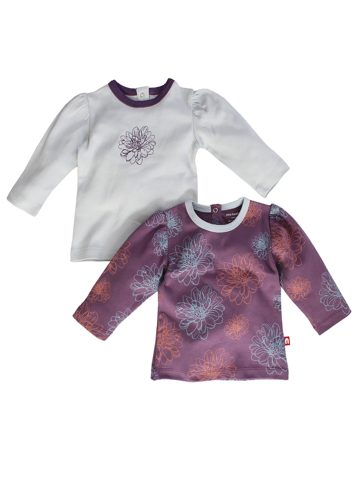 Nino Bambino 100% Organic Cotton Round Nack Full Sleeve Floral Print White & Purple Color T-Shirt ( Pack of 2 ) For Baby Girls