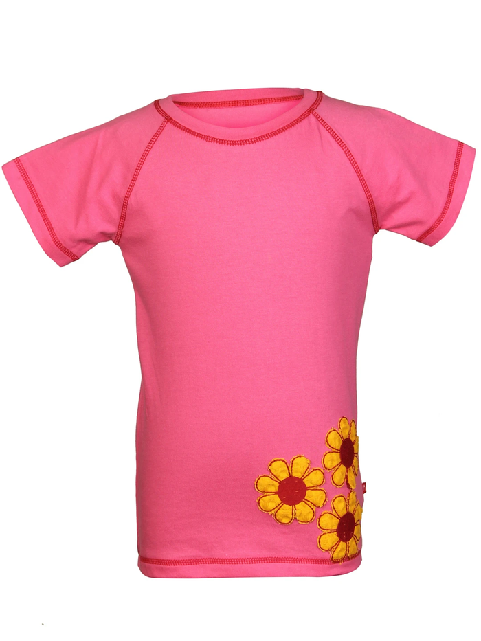 Nino Bambino 100% Pure Organic Cotton Half Sleeve Round Neck Yellow Flower Applique Pink Color T-shirts for Baby Girls