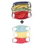Organic Cotton Solid Kids Mask , Assorted Color (Pack of 9)