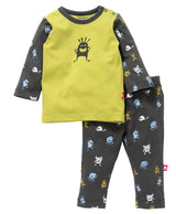 Nino Bambino 100% Organic Cotton Top & Bottom Set in Grey & Musted Color