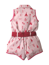 Nino Bambino 100% Pure Organic Cotton Sleeveless Multi-Color Girls Jumpsuit Dress With Ribbon Belt