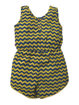 Nino Bambino 100% Organic Cotton Sleeveless Round Neck Zigzag Print Multi-Color Jumpsuit for Kids Girl