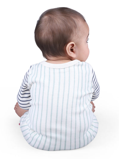 Nino Bambino 100% Organic Cotton Round Neck Multi-Color Long Sleeve Romper For Baby Boys