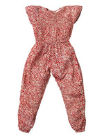 Nino Bambino 100% Organic Cotton Cap Sleeve Red Jumpsuit For Girls
