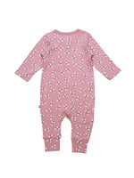 Nino Bambino 100% Organic Cotton Long Sleeve Round Nack Flower Print Pink Color Romper