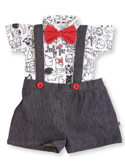 100% Organic Cotton Onesie Dungaree Set For Baby Boy