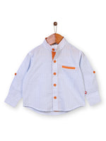 Nino Bambino 100% Organic Cotton Full Sleeves Peter Pan Collar Shirt For Babies & Kids Boy