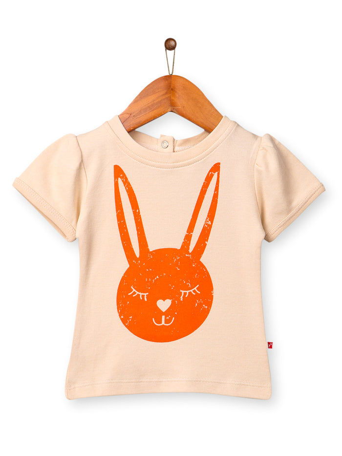 Nino Bambino 100% Cotton Round Neck Lavendor Color T-Shirt For Baby Girl's