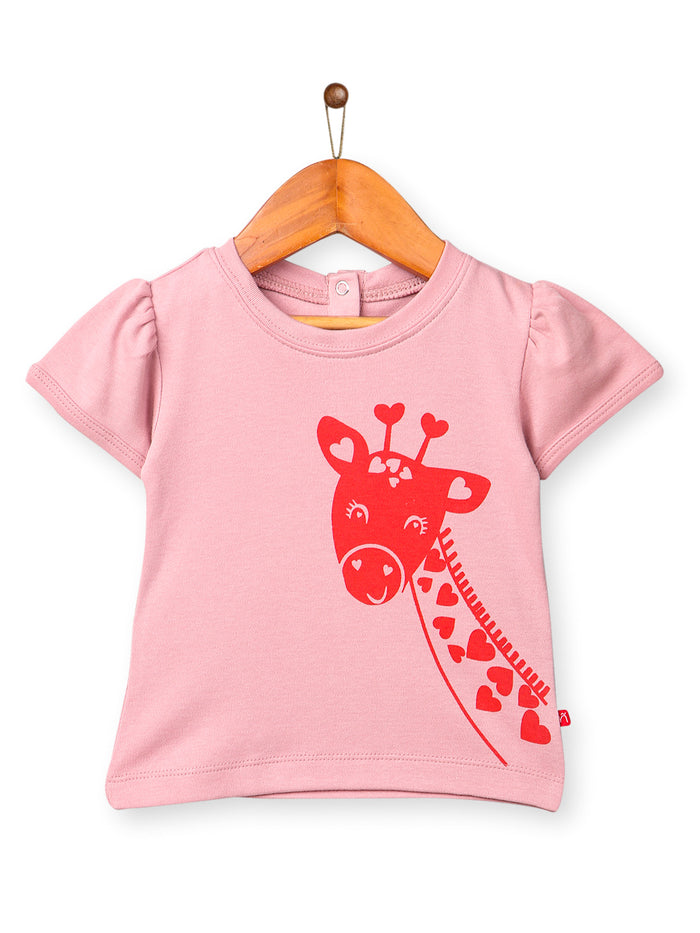 Nino Bambino 100% Organic Cotton Round Neck Pink Tops/T-shirts For Baby Girls