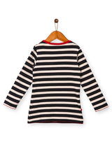 Nino Bambino 100% Cotton Round Neck Black Strip Top For Baby Girl's/Kid Girls