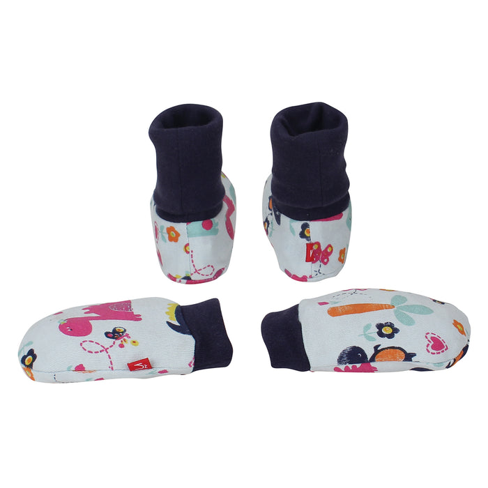 Nino Bambino 100% Organic Cotton Bottie & Mitten Set