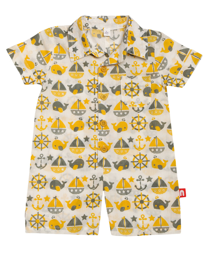 100% Organic cotton Baby Boy Half Romper