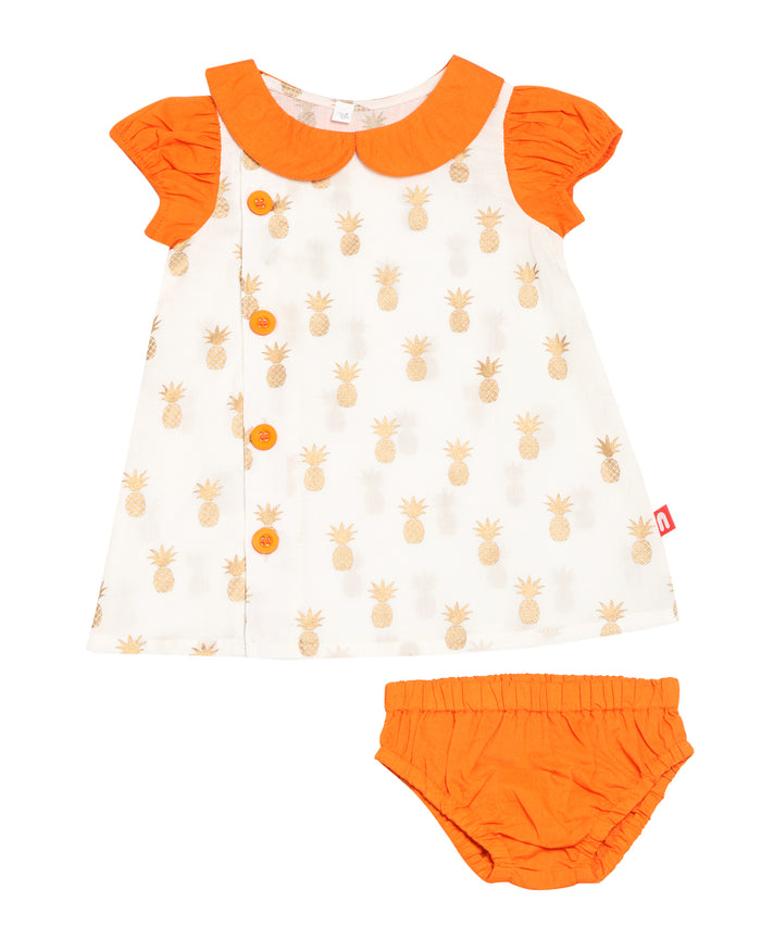 Nino Bambino 100% Organic Cotton Dress with Bloomer (Orange & Cream)