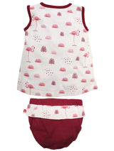 Nino Bambino 100% Organic Cotton Sleeveless Dress For Baby Girls with Bloomer