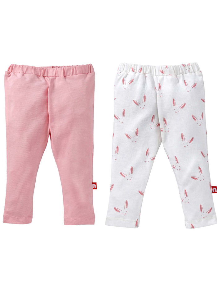 Nino Bambino 100% Organic Cotton Legging Sets ( Pack Of 2 ) For Baby Girls