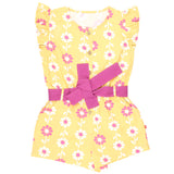 Nino Bambino 100% Pure Organic Cotton Cap Sleeve Round Neck Yellow Color Flower Print Jumpsuit Dress for Girls
