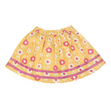 Nino Bambino 100% Pure Organic Cotton Knee Length Floral Print Multicolor Girl Yellow Skirts