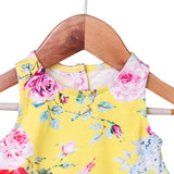 Nino Bambino 100% Organic Cotton Sleeveless Flower Print Yellow Color Bodysuit For Baby Girls