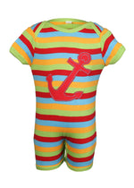Nino Bambino 100% Organic Cotton Half Sleeve Anchor Applique Multi-Color Romper For Unisex Baby