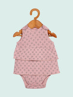 Nino Bambino 100% Organic Cotton Sleeveless Pink Onesie Dress For Baby Girls