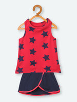 Nino Bambino 100% Organic Cotton Sleeveless Red Color & Black Star Print Tank Top and Skirt For Baby Girl