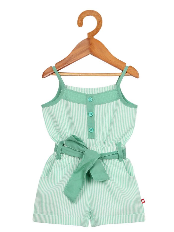 Nino Bambino 100% Organic Cotton Green Stripe Singlet Jumpsuit/Dress for Baby Girl