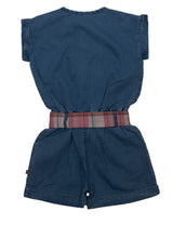 Nino Bambino 100% Pure Organic Cotton Elastic Waist Denim Blue Baby Girls Jumpsuit Dress with Ribbon Belt