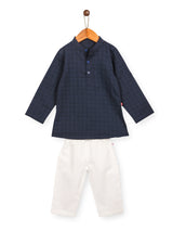 Nino Bambino 100% Pure Organic Cotton Blue & White Kurta Pajama For Boys