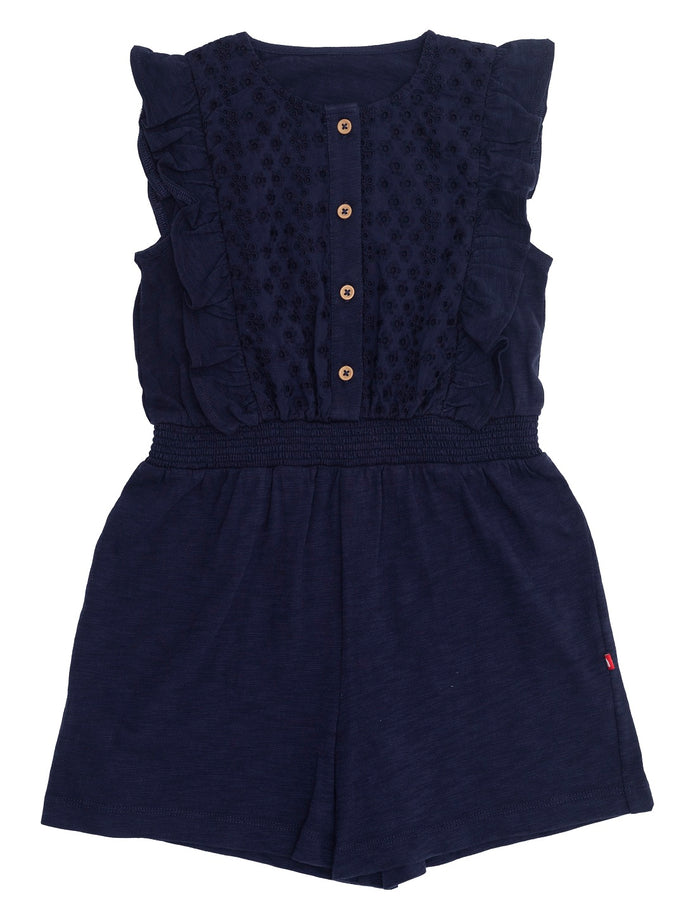 Nino Bambino Organic Cotton Sleeveless Navy Blue Color Ruffle Jumpsuit For Babies & Kids Girl