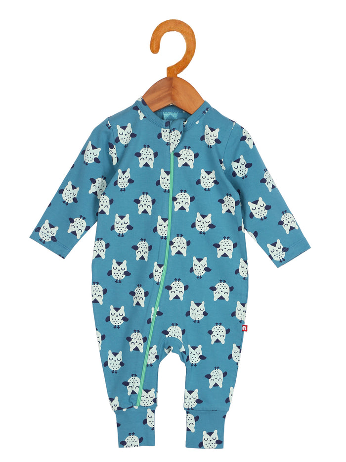 Nino Bambino 100% Organic Cotton Blue Color Full Sleeve Zipper Romper For Unisex Baby